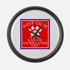 Keep Calm And Nebelung Cat Large Wall Clock