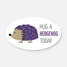 Hug A Hedgehog Oval Car Magnet