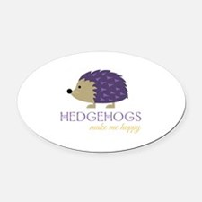 Happy Hedgehogs Oval Car Magnet