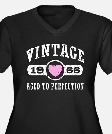 Vintage 1966 Women's Plus Size V-Neck Dark T-Shirt