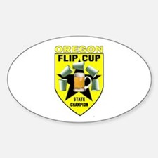 Oregon Flip Cup State Champio Oval Decal