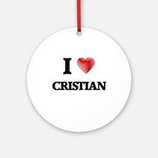 I love Cristian Round Ornament