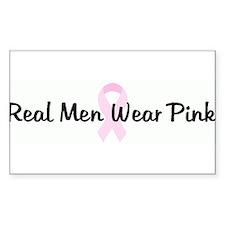 Real Men Wear Pink pink ribbo Sticker (Rectangular