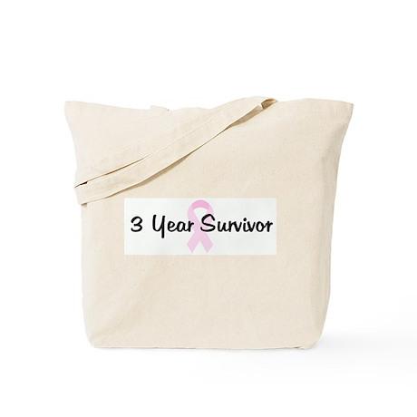 3 Year Survivor pink ribbon Tote Bag