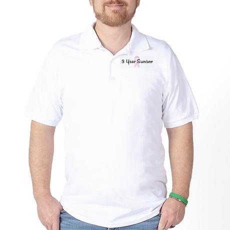 3 Year Survivor pink ribbon Golf Shirt
