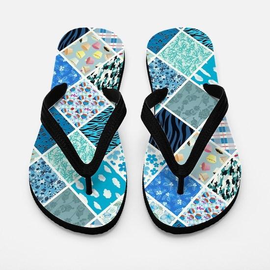 BLUE CRAZY QUILT Flip Flops