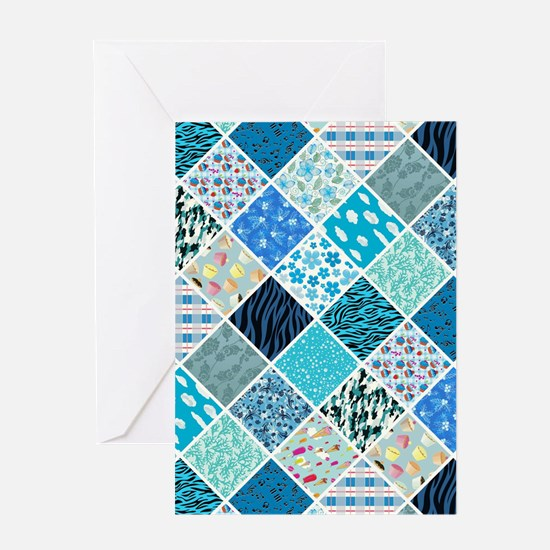 BLUE CRAZY QUILT Greeting Card
