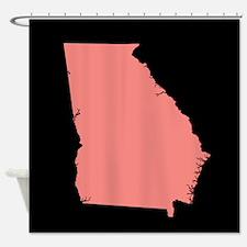 georgia peach black Shower Curtain