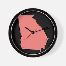 georgia peach black Wall Clock