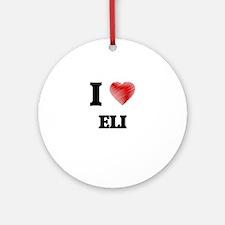 I love Eli Round Ornament