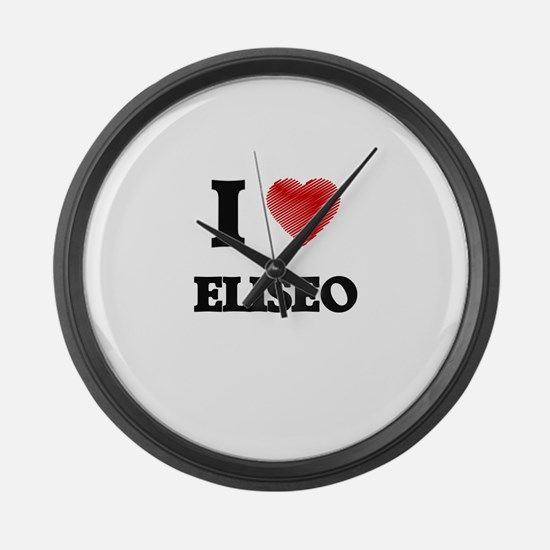 I love Eliseo Large Wall Clock