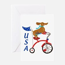 USA Dachshund Greeting Cards