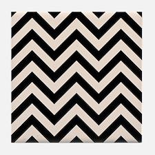 Zigzags Blk/crm Tile Coaster