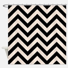 Zigzags Blk/Crm Shower Curtain