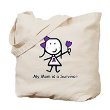 Purple Ribbon - Mom Survivor Tote Bag
