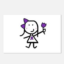 Girl & Purple Ribbon Postcards (Package of 8)