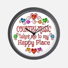 Country Happy Place Wall Clock