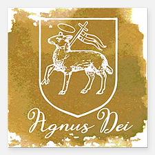 """Agnus Dei Square Car Magnet 3"""" x 3"""""""