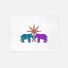 Colorful Elephants 5'x7'Area Rug