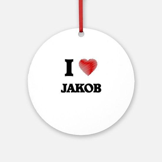 I love Jakob Round Ornament