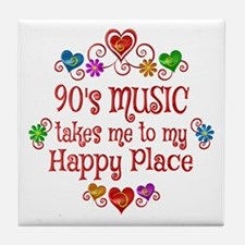 90s Music Happy Place Tile Coaster