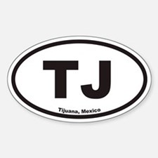 TJ Tijuana Mexico Euro Oval Decal