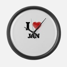 I love Jan Large Wall Clock