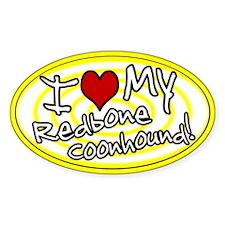 Hypno I Love My Redbone Coonhound Sticker Yellow