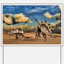 Stegosaurus dinosaur in the desert Yard Sign