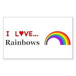 I Love Rainbows Sticker (Rectangle 10 pk)