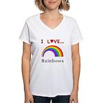I Love Rainbows Women's V-Neck T-Shirt