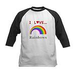 I Love Rainbows Kids Baseball Jersey