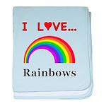 I Love Rainbows baby blanket