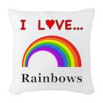 I Love Rainbows Woven Throw Pillow