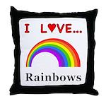 I Love Rainbows Throw Pillow