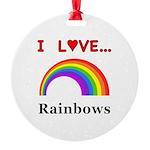 I Love Rainbows Round Ornament