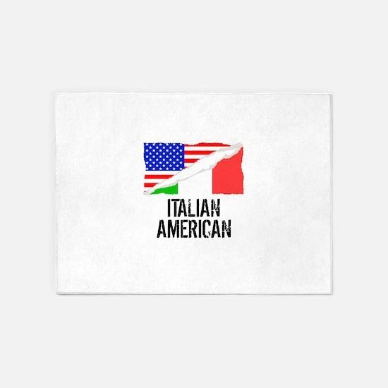 Italian American Flag 5'x7'Area Rug