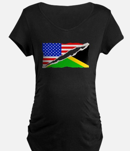 Jamaican American Flag Maternity T-Shirt