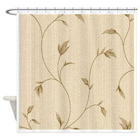 Beige Floral Shower Curtain By FamilyandBaby