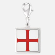 Templar Cross Silver Square Charm