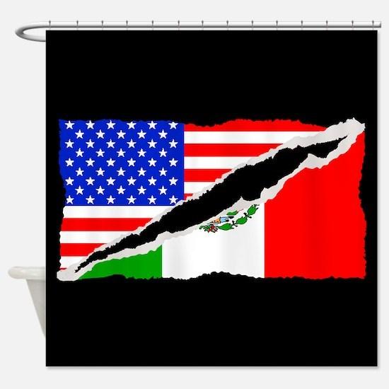 Mexican American Flag Shower Curtain