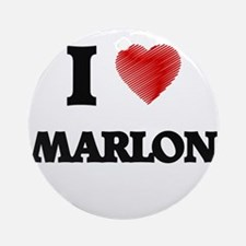 I love Marlon Round Ornament