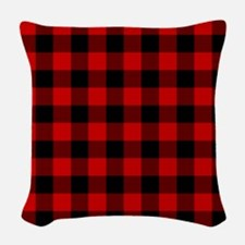 Red Plaid Woven Throw Pillow