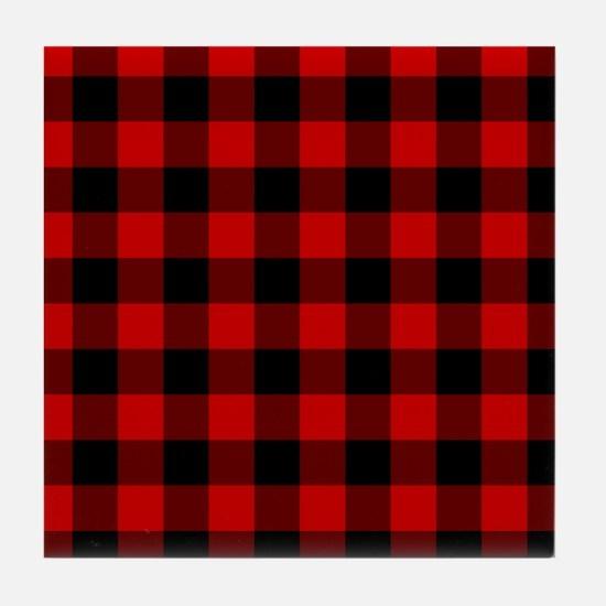 Red Plaid Tile Coaster