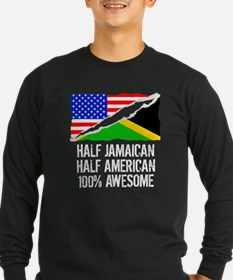 Half Jamaican Half American Awesome Long Sleeve T-