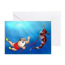 Scuba Santa Claus Greeting Cards (Pk of 10) {MK}