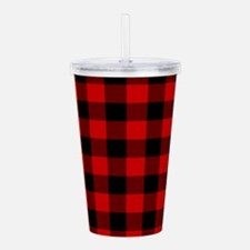 Red Plaid Acrylic Double-wall Tumbler