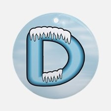 Icy Blue D Ornament (Round)