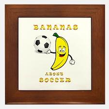 Bananas About Soccer Framed Tile