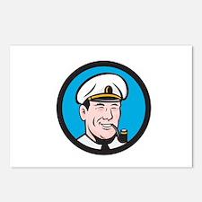 Smiling Sea Captain Smoking Pipe Circle Retro Post